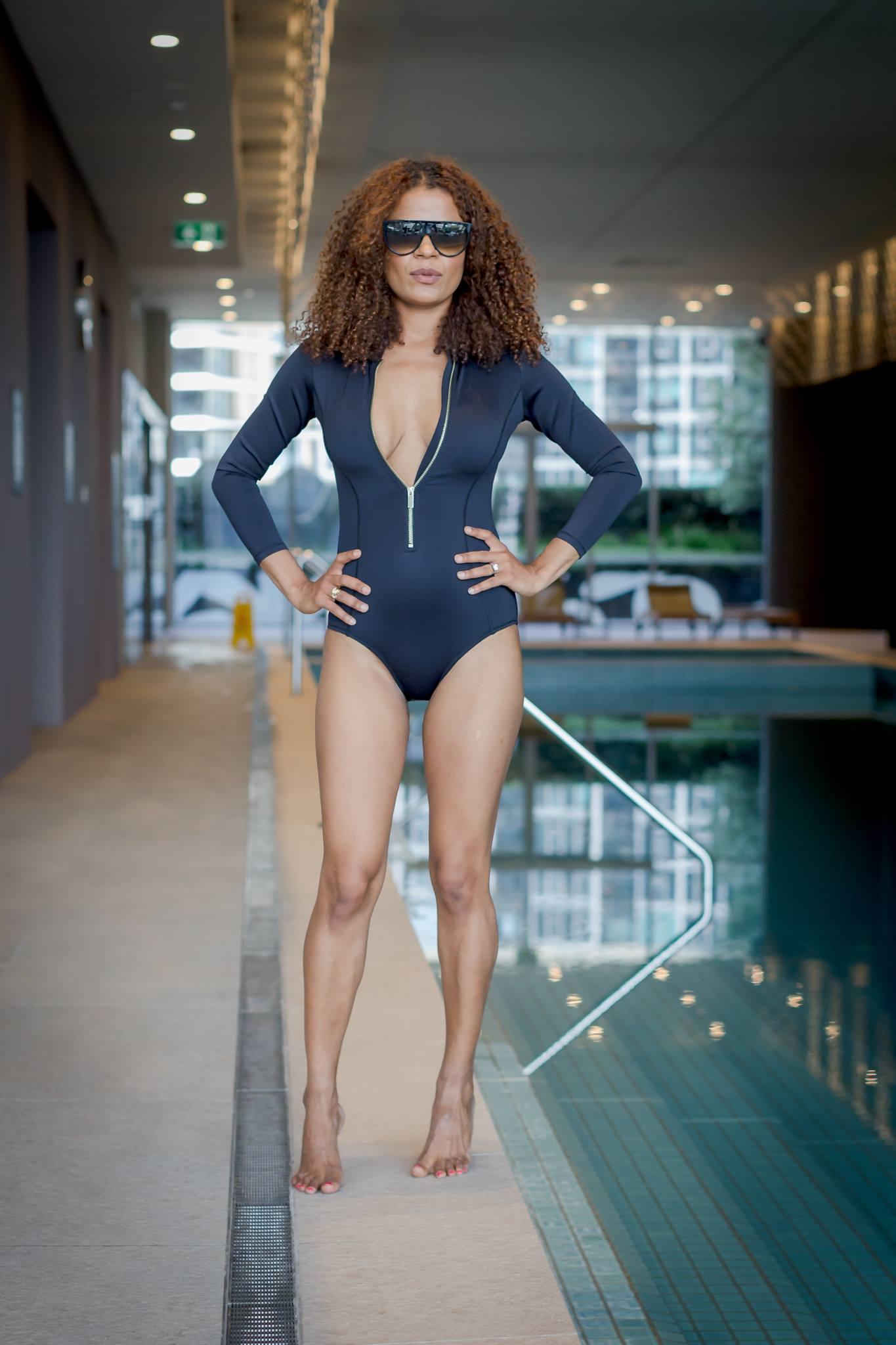 Victoria Latu wearing flattering swimwear
